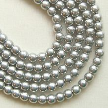 3mm Round Czech Glass Beads Silver - 100